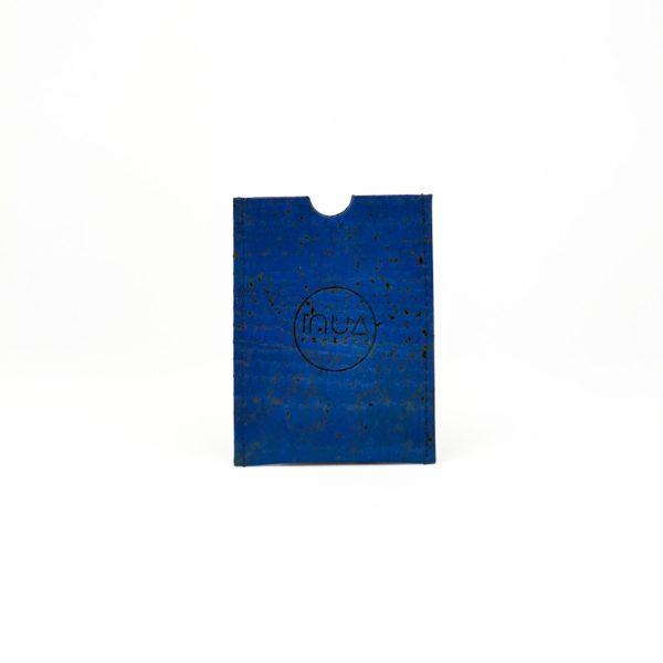 porte-carte vegan en liège bleu turquoise de l'atelier inua