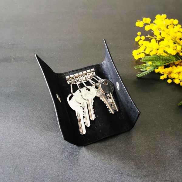 Etui porte-clés vegan en liège noir ouvert avec six clés
