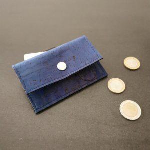 porte-monnaie vegan en liège bleu turquoise de l'atelier inua