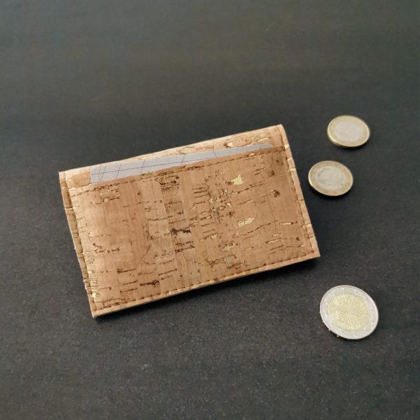 porte-monnaie vegan en liège naturel doré de l'atelier inua