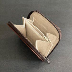mini portefeuille compagnon vegan en liege marron double de lin français naturel fabriqué par l'atelier inua