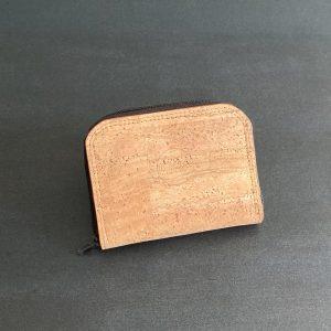 mini portefeuille compagnon vegan en liege naturel double de lin français naturel fabriqué par l'atelier inua
