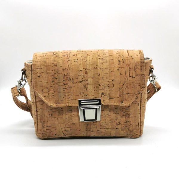 sac à main vegan en liège naturel avec fermoir cartable de l'atelier inua