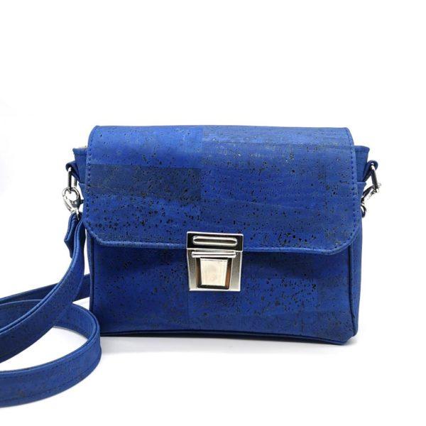 sac à main vegan en liège bleu turquoise de l'atelier inua avec fermoir cartable