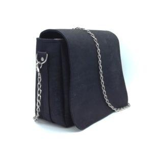sac à main vegan en liège noir avec chaîne métal de l'atelier inua