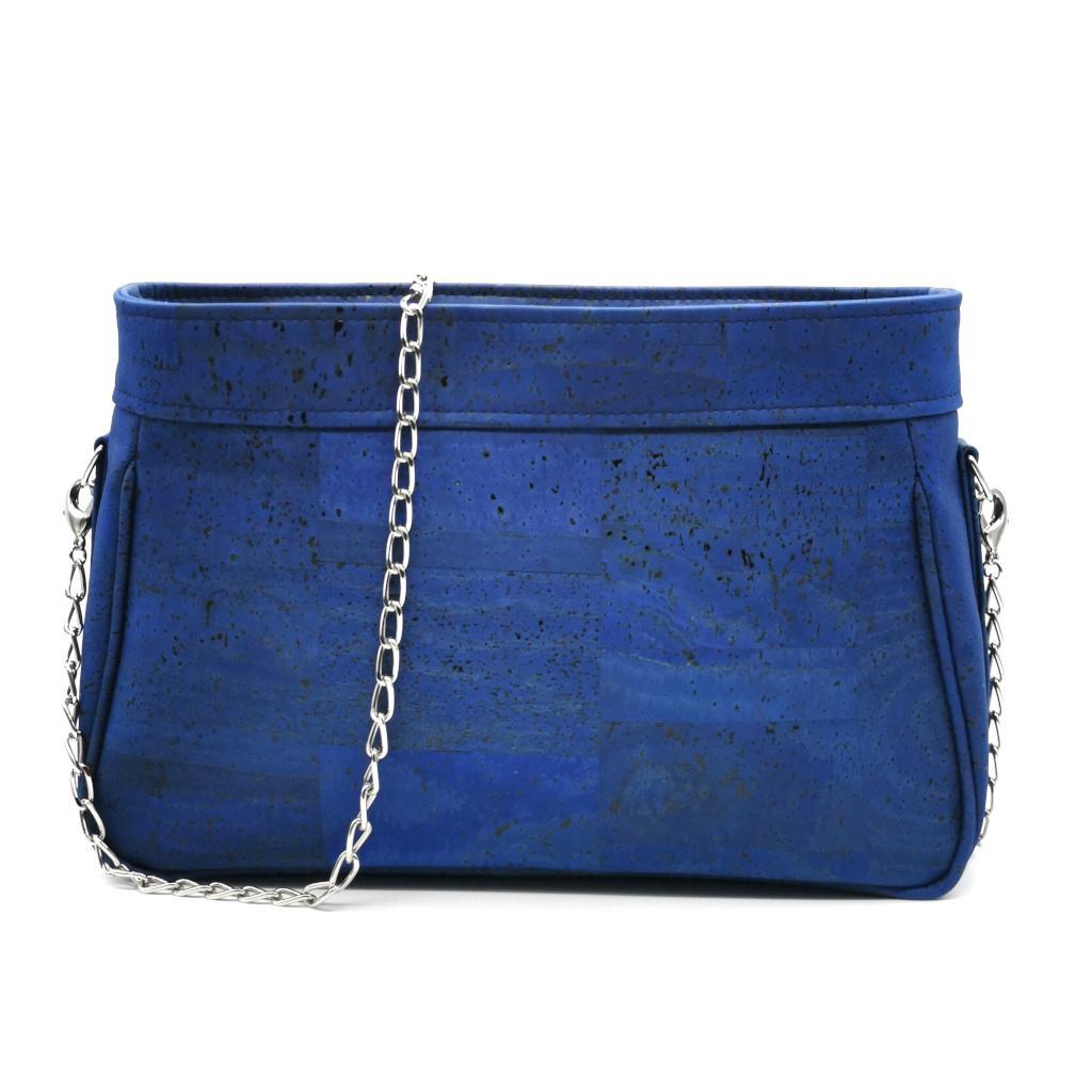 sac à main vegan en liège bleu turquoise de l'atelier inua avec fermeture zippée