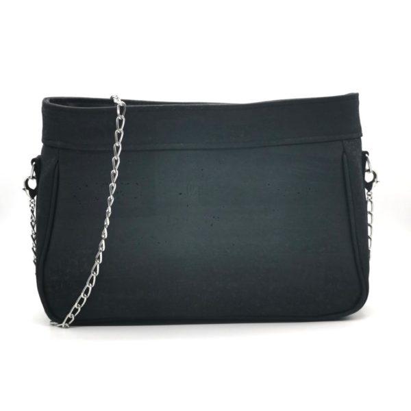 sac à main vegan en liège noir de l'atelier inua avec fermeture zippée